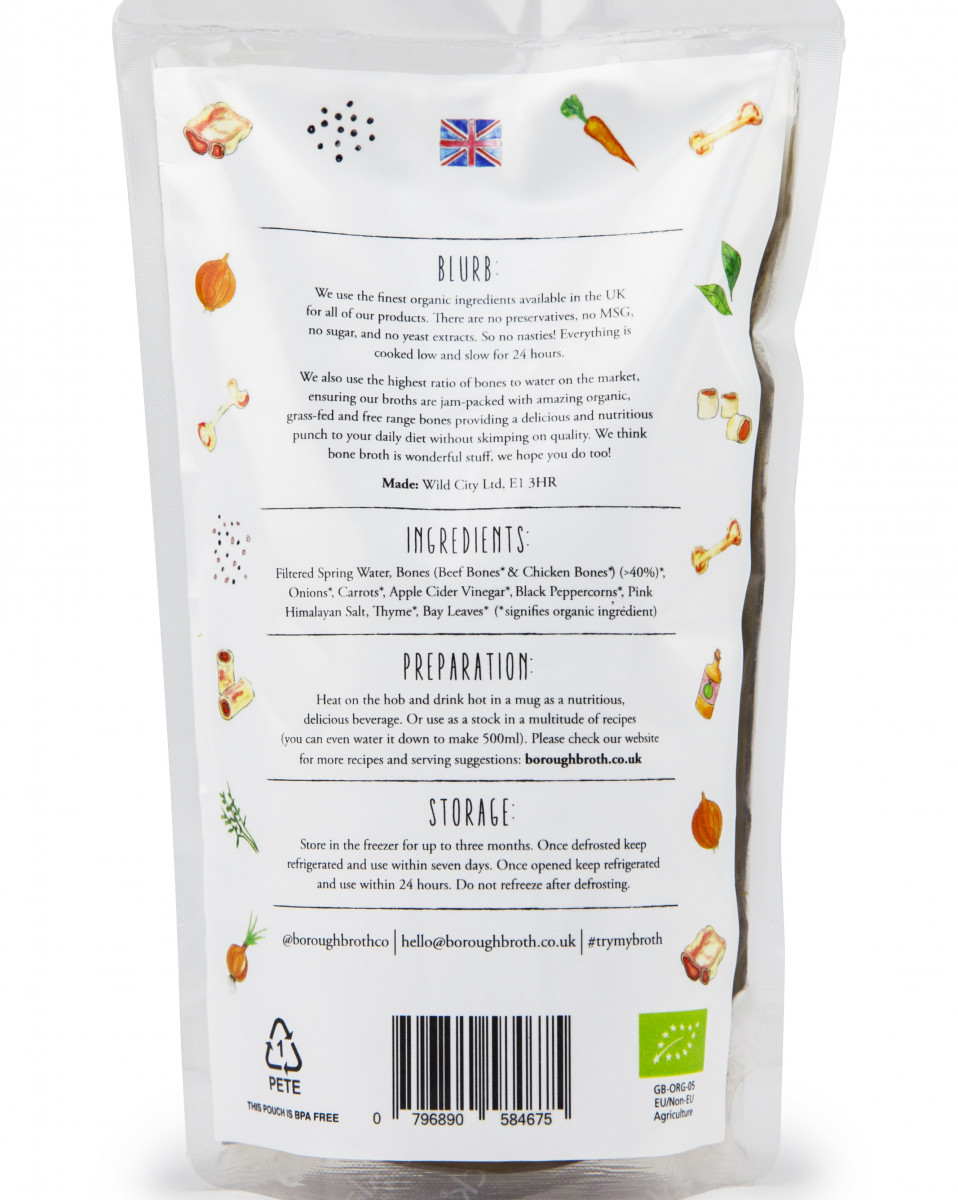 Back of Beef Bone Broth Pouch