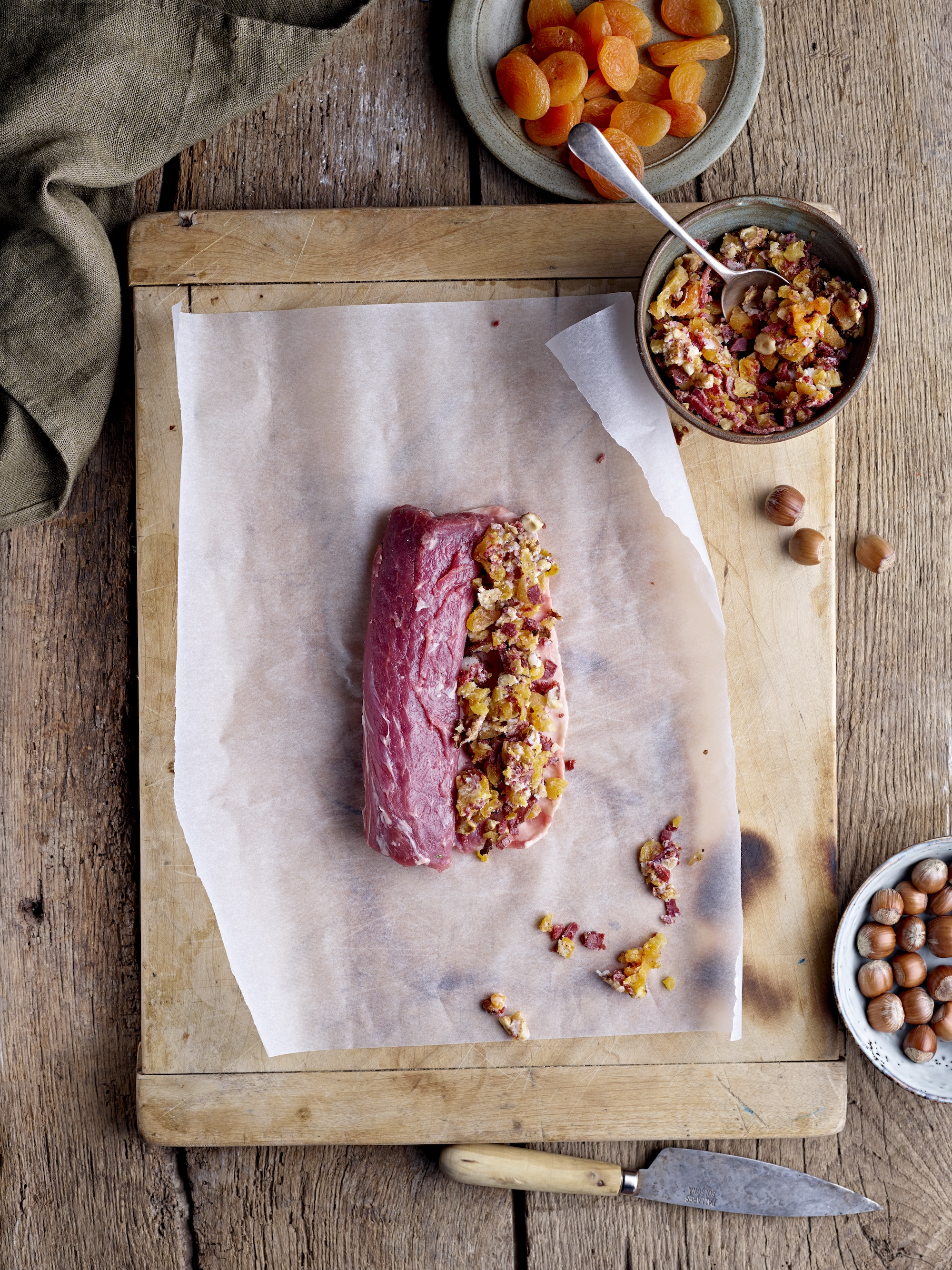Stuffed Loin of Lamb with Apricots & Hazelnuts