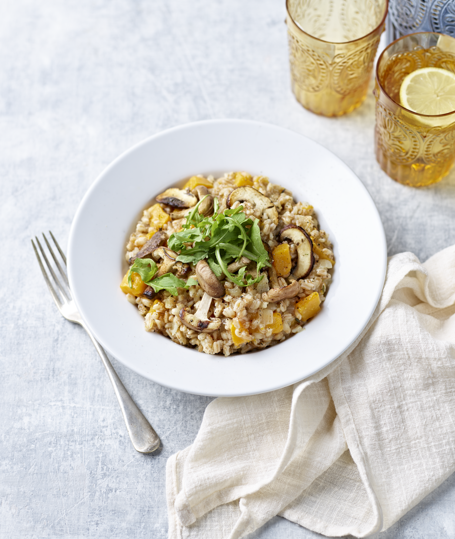 Pearled Spelt Risotto with Chicken and Wintery Veg