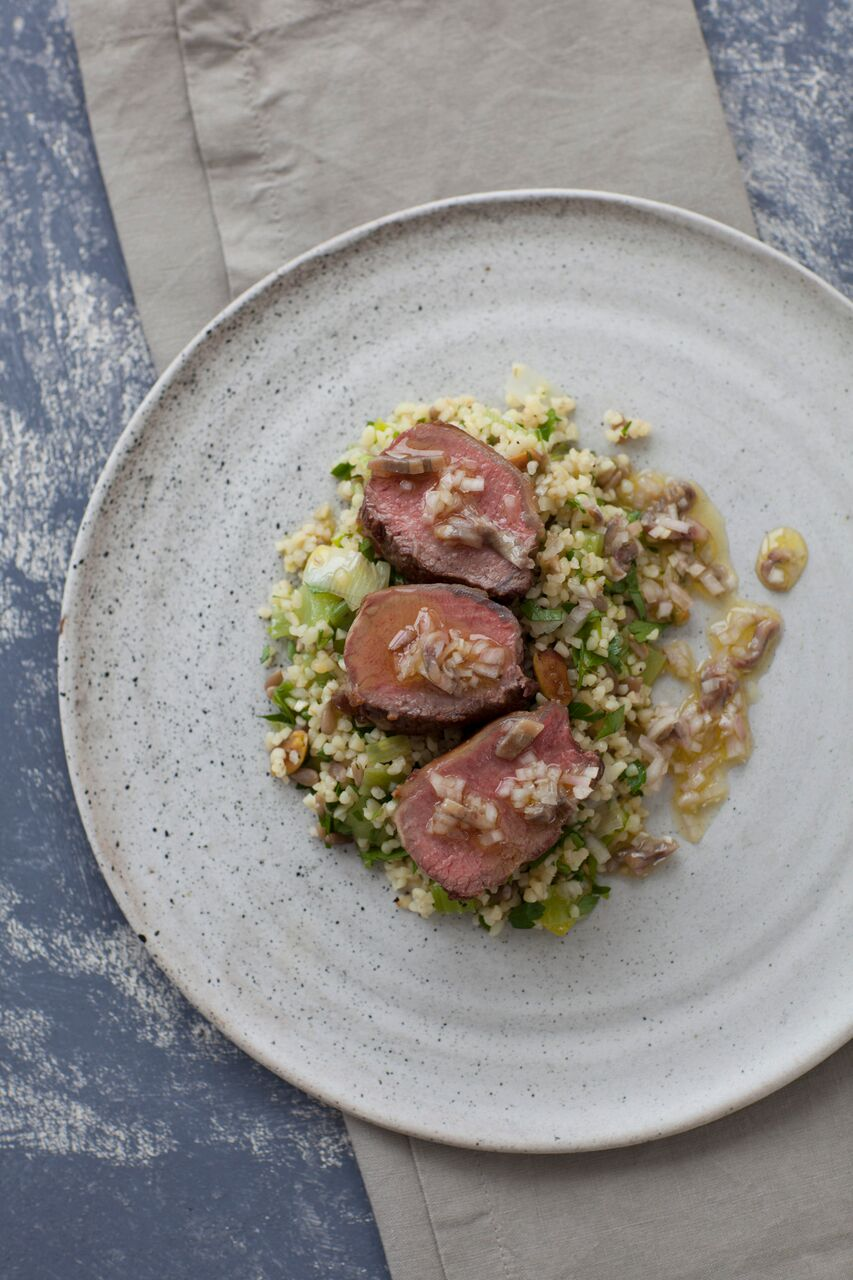 Rump of Goat, Cracked Wheat and Anchovy Dressing
