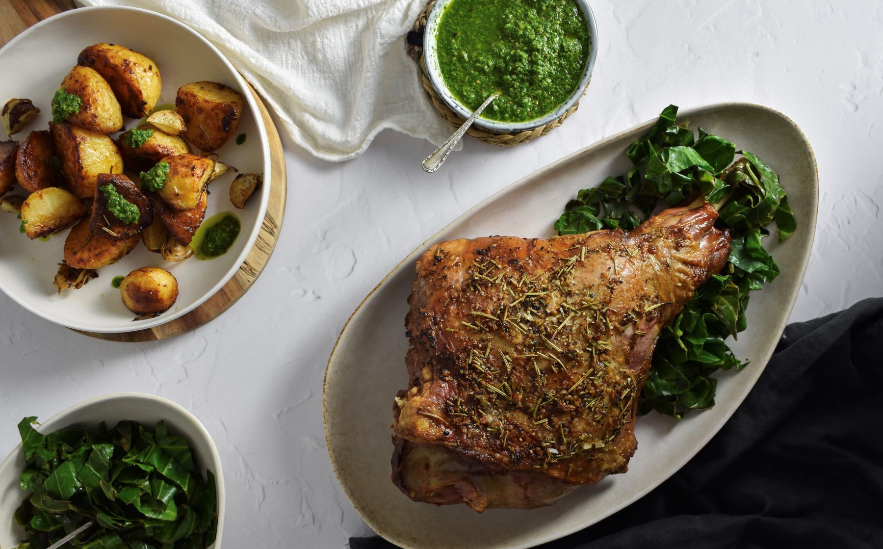 Roast Leg of Lamb with Wild Garlic Salsa Verde