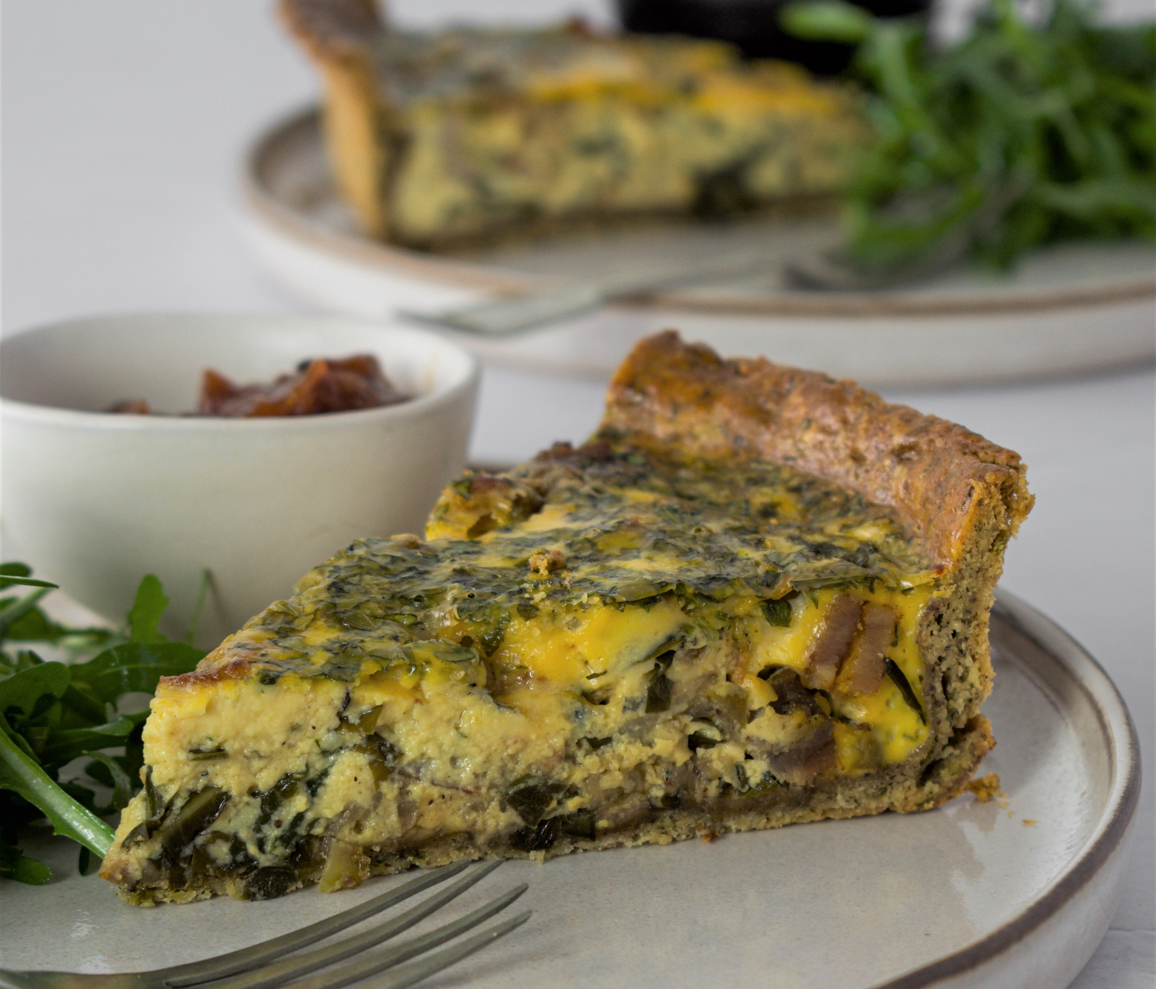 Spring Greens, Smoked Bacon & Stilton Quiche